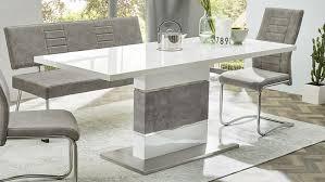 esstisch turin tisch in weiß hochglanz beton und edelstahl