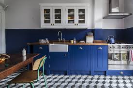 Blue Kitchen Cabinets On Glamorous Home