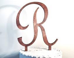 Wooden Wedding Cake Topper Letter R Monogram Rustic