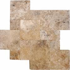 rustico walnut versailles pattern tumbled travertine pavers tile