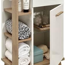 badezimmer waschtisch malanje 66 unterschrank und waschbecken in weiß glänzend riviera eiche quer nb b h t 101 89 5 46cm