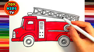 How To Draw A Fire Truck And School Bus | Vehicle | Painting With ...