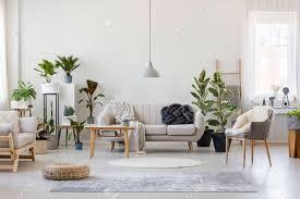 hocker und grauer sessel im geräumigen wohnzimmer mit pflanzen und sofa in der nähe holztisch