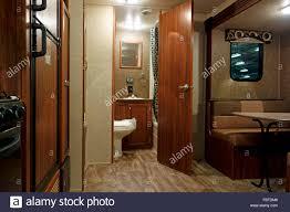 The Interior Of A Modern 5th Fifth Wheel RV Trailer Camper Caravan Motorhome