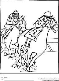 Coloring Pages Of Horses Racing Is A Close Up With The Coming Around Rail And They Have Inside Track Jockeys