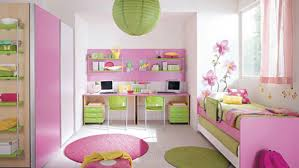 Cheerful Interior Design Ideas For Kids Room Themes Good Looking Pink Furry Rug Also Green