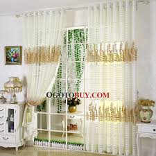 Gold And White Sheer Curtains by Exquisite Embroidered Gold Leaf Pattern White Stripe Sheer Curtain