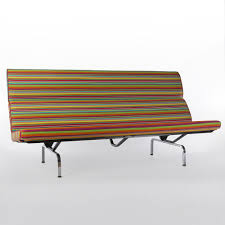 Eames Sofa Compact Used by Herman Miller Original Vintage Eames Compact Sofa In Girard Fabric