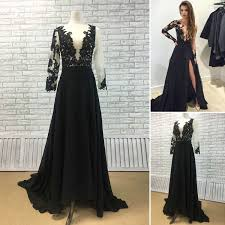 Black Lace And Chiffon A Line Prom Dress