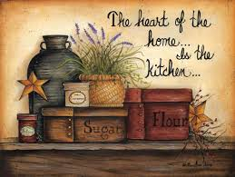 The Heart Of Home Is Kitchen Country Wooden Wall Art Sign Sugar Flour Barn Stars Berries