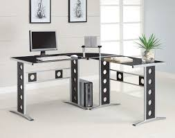 Small Glass And Metal Computer Desk by Furniture Black And Grey Metal Contemporary Home Office Computer