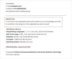 Free Resume Templates Without Objective Template With Fresher