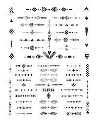 Hand Drawn Tribal Patterns With Stroke Line Arrow Boho Elements Feathers