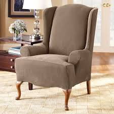 Oversized Wingback Chair Slipcovers by Sure Fit Slipcovers Form Fit Stretch Pique 1 Piece Wing Chair