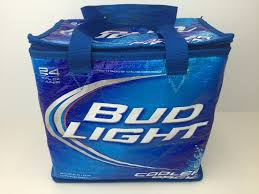 Bud Light Beer Cooler 24 Can Pack Thermal Insulated Carry Bag Blue