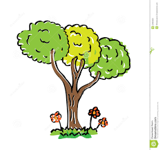 Cartoon drawing tree with color