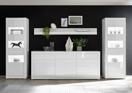 esszimmer set holy five 4tlg vitrine hg weiß weiß inkl wechselleiste beton 369x198x35 42cm