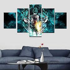 goku und vegeta 5 teilig wandbild panel malerei leinwand modern wohnzimmer schlafzimmer wand dekoration wohnkultur 150 80cm mit rahmen