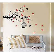 Simple Wall Paintings Birds Remarkable Colorful Tree And Bird Art Bedroom
