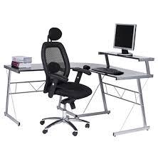bureau verre trempé bureau d angle en verre noir bureau informatique design