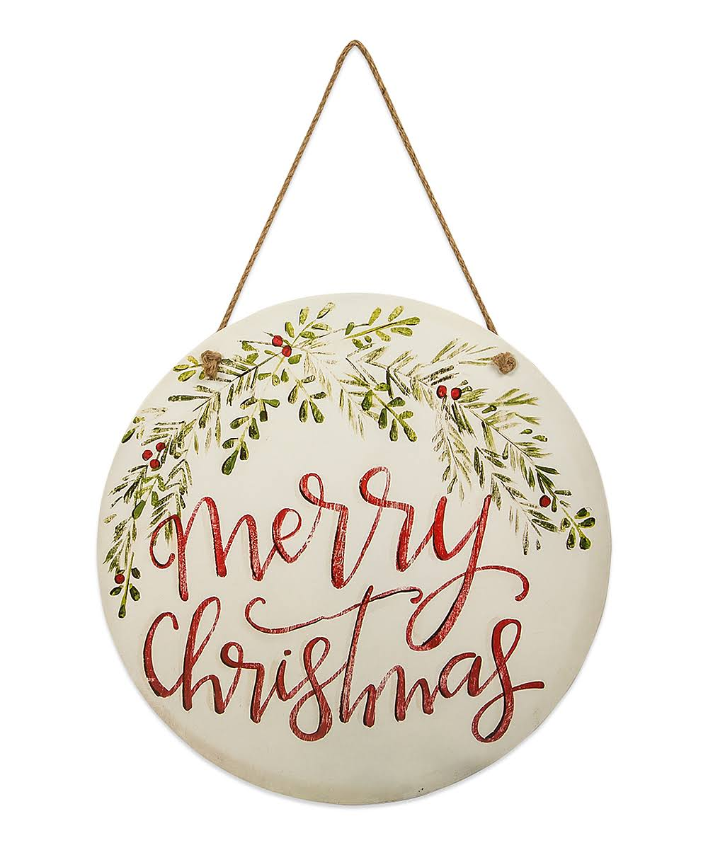 "Brownlow Gifts 63939 Painted Round Hanging Door and Wall Sign, 18"" in Diameter, Merry Christmas"