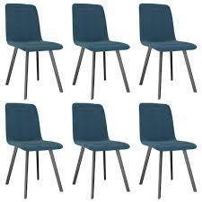 vidaxl esszimmerstühle 6 stk blau samt gitoparts