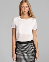 dkny short sleeve blouse with cropped overlay in white lyst