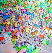 Art Flat 17 Fantastic Cities Coloring Book Pictures