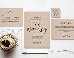 Kraft Wedding Invitation Printable Rustic Set Cheap