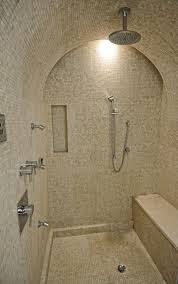 traditional master bathroom with shower bench recessed shower