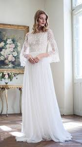 discount 2017 bohemian wedding dresses long bell sleeves a line