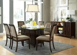 Dining Room Rectangle Glass Table Pine Laminate Flooring Yellow Ceramic Pottery Cutlery Round Greenish
