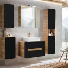 details zu badezimmer badmöbel komplett set anthrazit keramik waschtisch led spiegelschrank