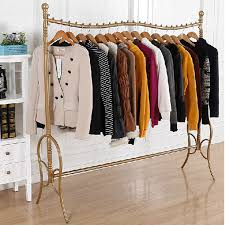 Floor Iron Frame High Grade Gold Vintage Clothing Boutiques Wholesale Racks Display Stand