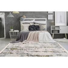 teppich modern fransen vintage design modern wohnzimmer grau grün 80cm x 150cm
