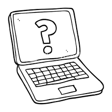 Freehand Drawn Black And White Cartoon Laptop Computer With Question Mark