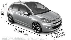dimensions des voitures citroën longueur x largeur x hauteur