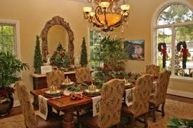 Tuscan Decorating For Dining Room With Indoor Plants And Pines Chandelier Mirror