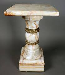 Antique Classical Onyx Sculpture Stand Features Gilt Bronze Banding Is Heavy And Of Good Quality