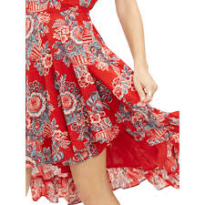 denim and supply red floral dress