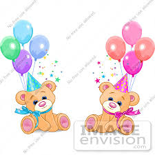 450x450 Clip Art Male And Female Twin Birthday Bears Wearing Party Hats