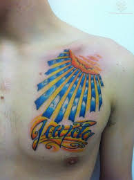 Sun And Cloud Color Ink Tattoo On Chest