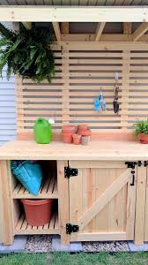 the painting of the potting bench sw perfect greige