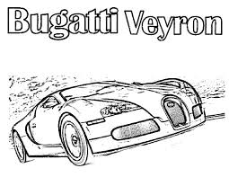 Bugatti Car Veyron On The Road Colouring Page