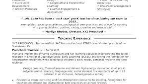 Preschool Teacher Resume Samples Examples Adorable For Teaching Jobs On Job Sample Of Teachers Template F