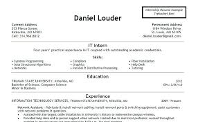 It Intern Resume What To Have On A Skills Position