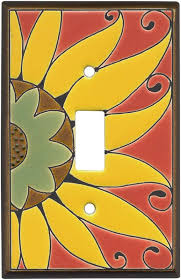 mexican sunflower ceramic light switch plates outlet covers
