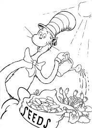 Dr Seuss The Cat In Hat Watering Plant Coloring Page