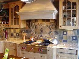 Amazing Modern Rustic Kitchen Design With Mosaic Slate Tile Backsplash As A Tuscan