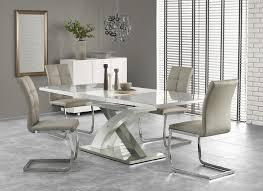 esstisch sandor 2 ausziehbar 160 220 x90 konferenztisch seminartisch glastisch weiß grau edelstahl
